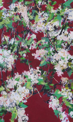 white hedge flowers, painting No. 7284 / acrylic on canvas